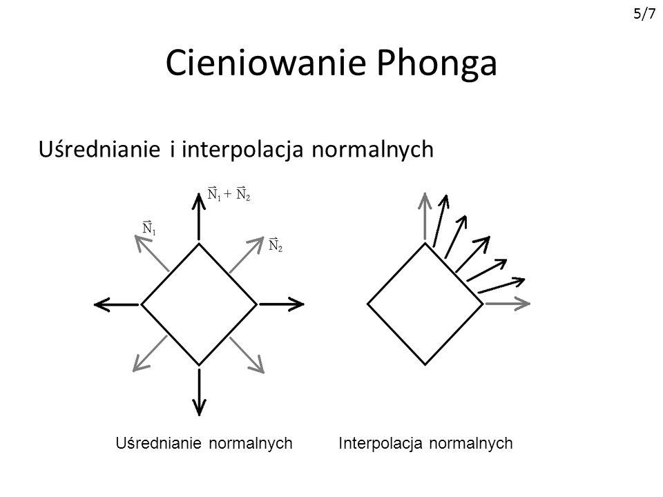 Cieniowanie Phonga 5/7 Uśrednianie i interpolacja normalnych Uśrednianie normalnychInterpolacja normalnych