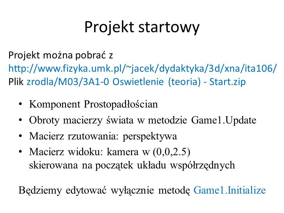 Projekt startowy Komponent Prostopadłościan Obroty macierzy świata w metodzie Game1.Update Macierz rzutowania: perspektywa Macierz widoku: kamera w (0,0,2.5) skierowana na początek układu współrzędnych Będziemy edytować wyłącznie metodę Game1.Initialize Projekt można pobrać z http://www.fizyka.umk.pl/~jacek/dydaktyka/3d/xna/ita106/ Plik zrodla/M03/3A1-0 Oswietlenie (teoria) - Start.zip