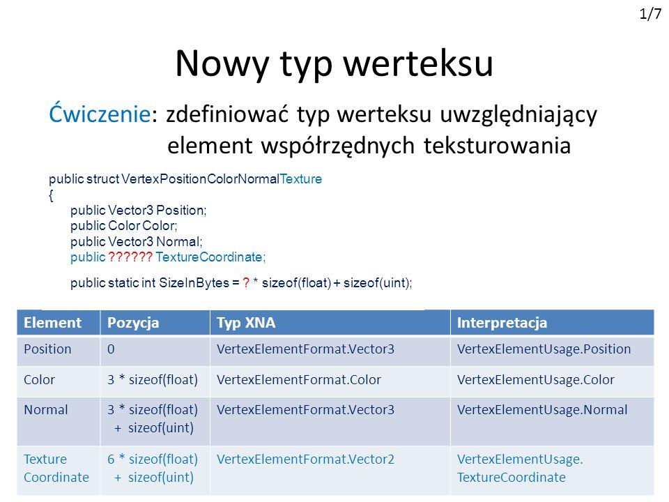public struct VertexPositionColorNormalTexture { public Vector3 Position; public Color Color; public Vector3 Normal; public Vector2 TextureCoordinate; public static int SizeInBytes = 8 * sizeof(float) + sizeof(uint); Nowy typ werteksu 1/7 ElementPozycjaTyp XNAInterpretacja Position0VertexElementFormat.Vector3VertexElementUsage.Position Color3 * sizeof(float)VertexElementFormat.ColorVertexElementUsage.Color Normal3 * sizeof(float) + sizeof(uint) VertexElementFormat.Vector3VertexElementUsage.Normal Texture Coordinate 6 * sizeof(float) + sizeof(uint) VertexElementFormat.Vector2VertexElementUsage.