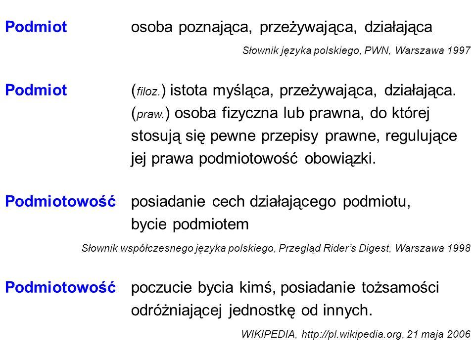 Podmiot osoba poznająca, przeżywająca, działająca Słownik języka polskiego, PWN, Warszawa 1997 Podmiot ( filoz. ) istota myśląca, przeżywająca, działa