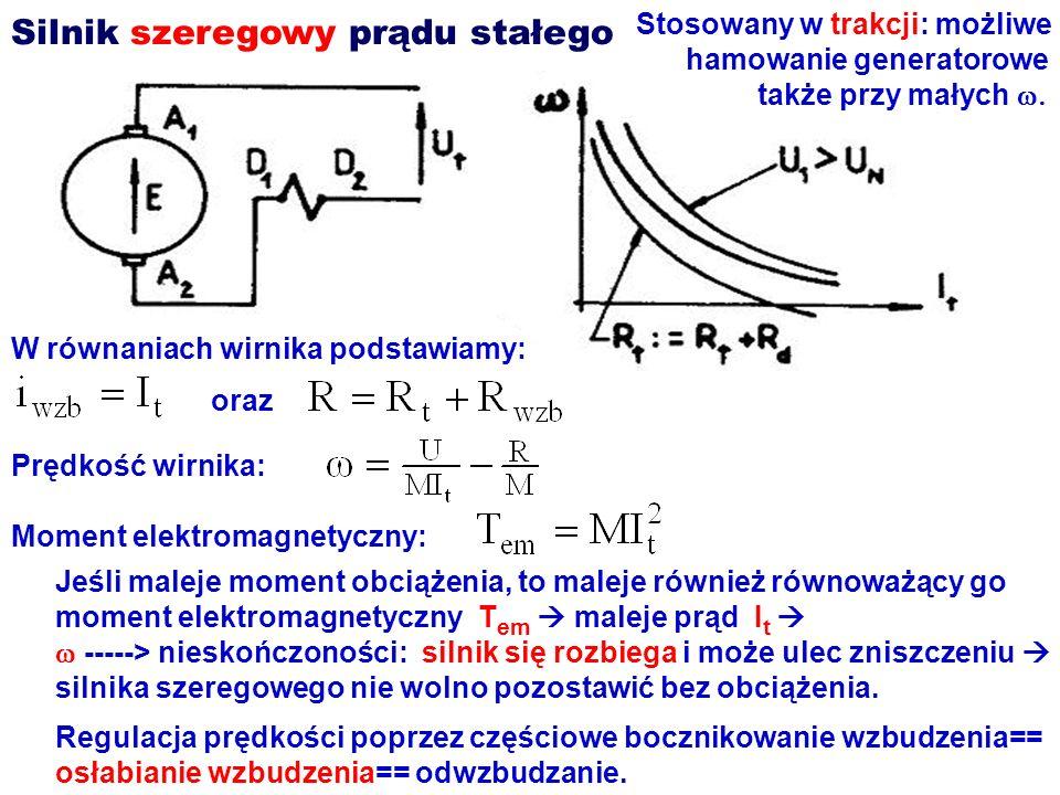 Silnik szeregowy prądu stałego W równaniach wirnika podstawiamy: oraz Prędkość wirnika: Moment elektromagnetyczny: Jeśli maleje moment obciążenia, to