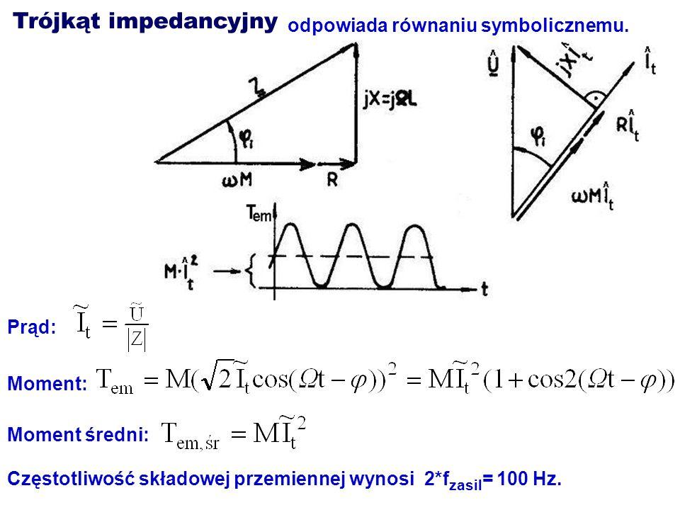Trójkąt impedancyjny odpowiada równaniu symbolicznemu. Prąd: Moment: Moment średni: Częstotliwość składowej przemiennej wynosi 2*f zasil = 100 Hz.