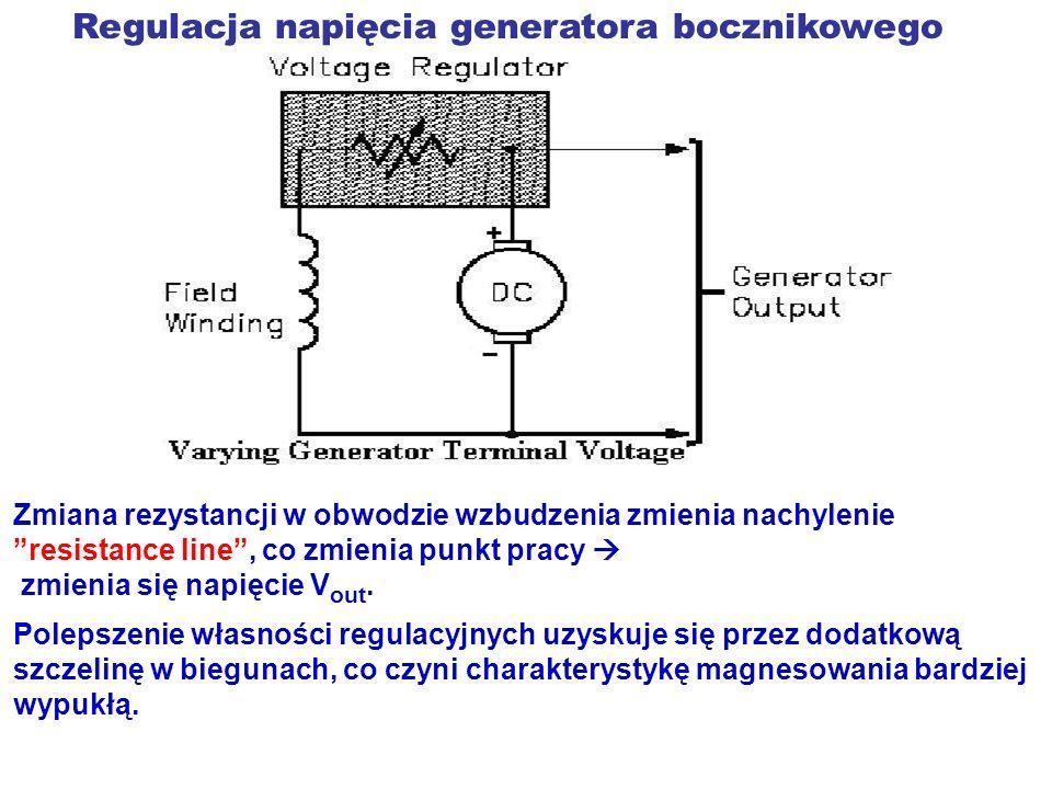Regulacja napięcia generatora bocznikowego Zmiana rezystancji w obwodzie wzbudzenia zmienia nachylenie resistance line, co zmienia punkt pracy zmienia