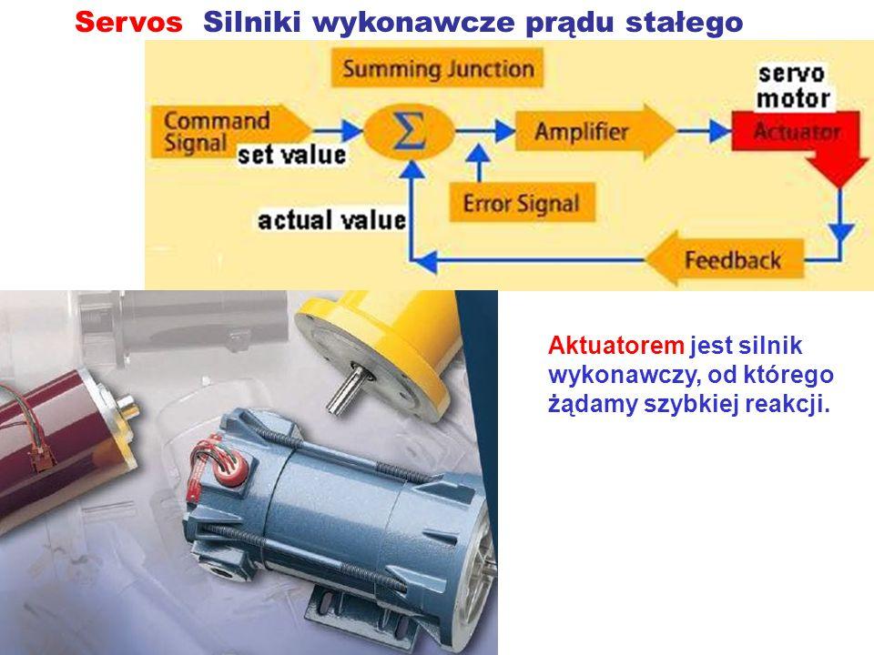 Servos Silniki wykonawcze prądu stałego Aktuatorem jest silnik wykonawczy, od którego żądamy szybkiej reakcji.