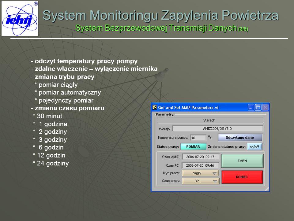 System Monitoringu Zapylenia Powietrza System Bezprzewodowej Transmisji Danych (3/5) - odczyt temperatury pracy pompy - zdalne właczenie – wyłączenie