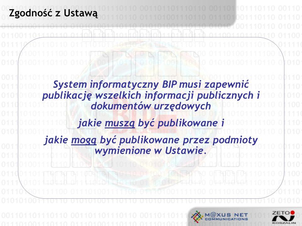 Użytkownicy BIP Podmioty wymienione w Ustawie Kierownictwo podmiotów (urzędów) Pracownicy podmiotów (urzędów) Interesanci (wszyscy obywatele) Rozdział 1, Art.