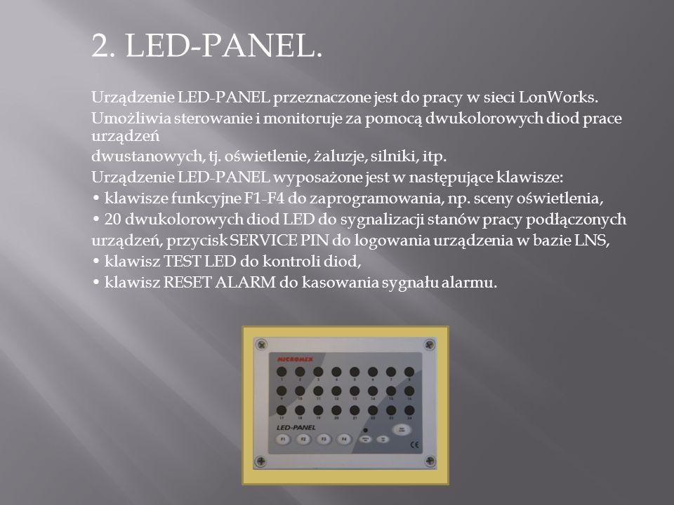 2. LED-PANEL. Urządzenie LED-PANEL przeznaczone jest do pracy w sieci LonWorks. Umożliwia sterowanie i monitoruje za pomocą dwukolorowych diod prace u