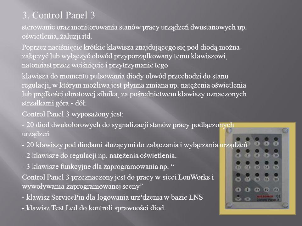 3. Control Panel 3 sterowanie oraz monitorowania stanów pracy urządzeń dwustanowych np. oświetlenia, żaluzji itd. Poprzez naciśnięcie krótkie klawisza