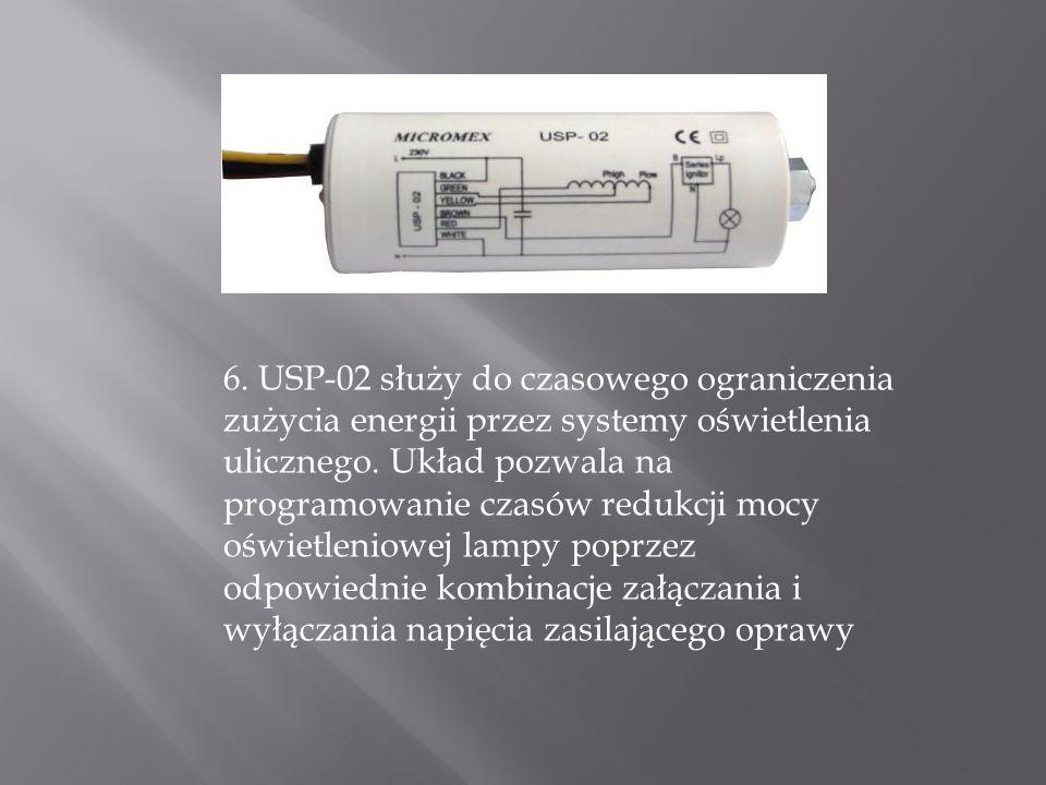 6. USP-02 służy do czasowego ograniczenia zużycia energii przez systemy oświetlenia ulicznego. Układ pozwala na programowanie czasów redukcji mocy ośw