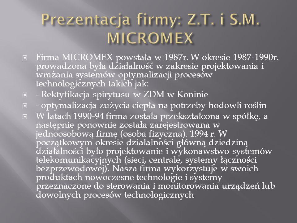 Firma MICROMEX powstała w 1987r. W okresie 1987-1990r. prowadzona była działalność w zakresie projektowania i wrażania systemów optymalizacji procesów