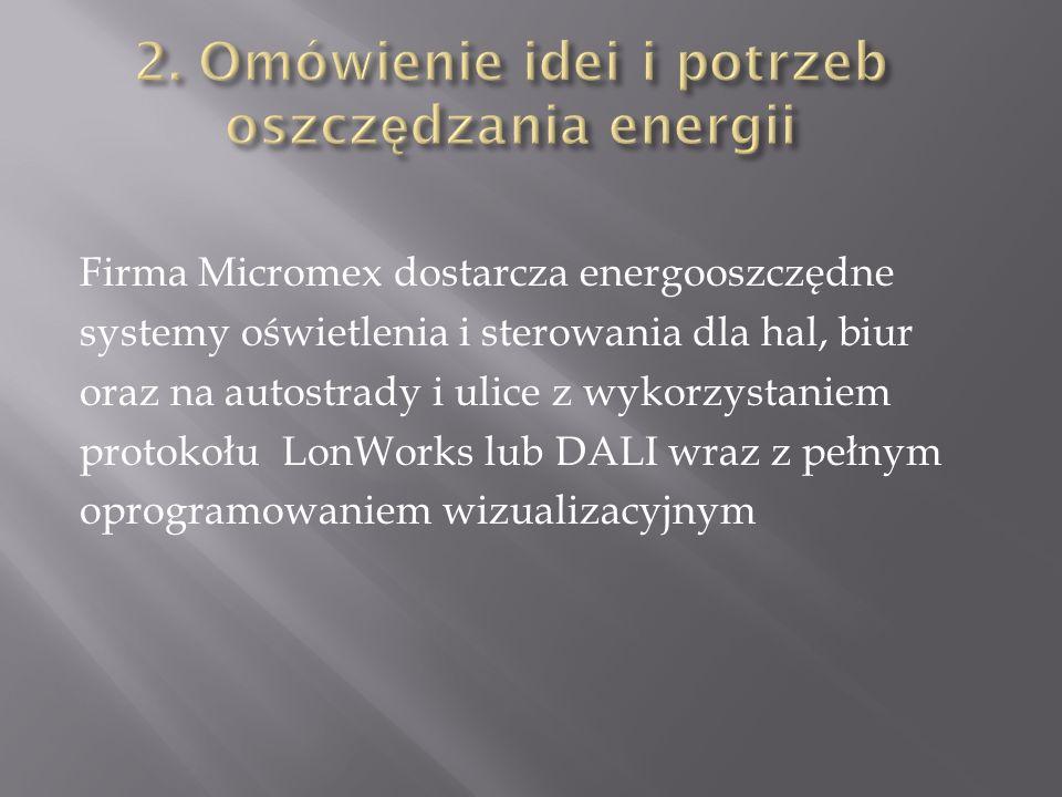 Efekty ekonomiczne dla hal przemysłowych Przykład oszczędności dla rzeczywistego obiektu posiadającego: 108 lamp 430W świecących 24h/dobę Zużycie energii na dobę: 108x24x430=1114,56kWh Zużycie energii po wprowadzeniu systemu (42 lampy świecą przez 8 godzin): 42x8x430=144,48kWh Procentowe z użycie po wprowadzeniu systemu : 144,48/1114,56=13% Przy zastosowaniu systemu z redukcją, oszczędności przekraczają 80% Efekty ekonomiczne dla oświetlenia hal przemysłowych zmniejszenie zużytej energii wydłużenie czasu pracy lamp pełna kontrola czynności serwisowych podniesienie bezpieczeństwa pracy całego systemu