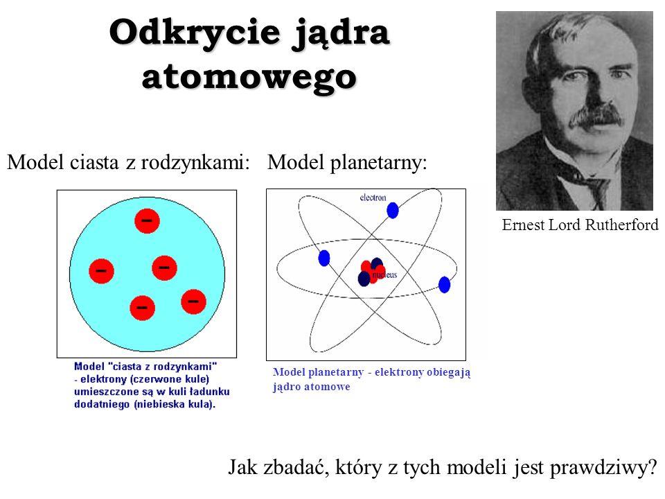 Odkrycie jądra atomowego Ernest Lord Rutherford Model ciasta z rodzynkami:Model planetarny: Model planetarny - elektrony obiegają jądro atomowe Jak zb