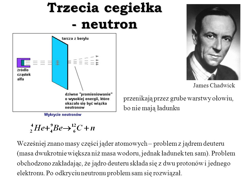 Trzecia cegiełka - neutron James Chadwick przenikają przez grube warstwy ołowiu, bo nie mają ładunku Wcześniej znano masy części jąder atomowych – pro