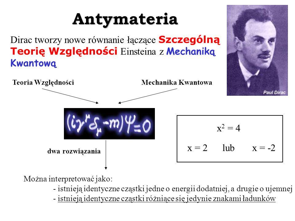 Antymateria Dirac tworzy nowe równanie łączące Szczególną Teorię Względności Einsteina z Mechaniką Kwantową Teoria Względności Mechanika Kwantowa dwa