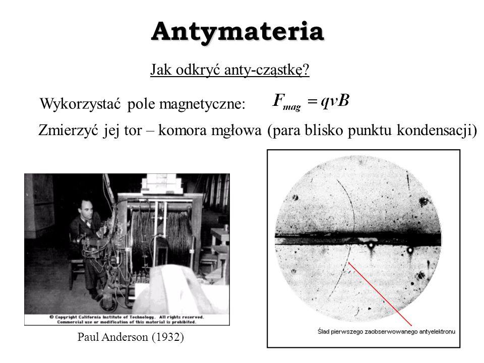 Antymateria Jak odkryć anty-cząstkę? Wykorzystać pole magnetyczne: Zmierzyć jej tor – komora mgłowa (para blisko punktu kondensacji) Paul Anderson (19