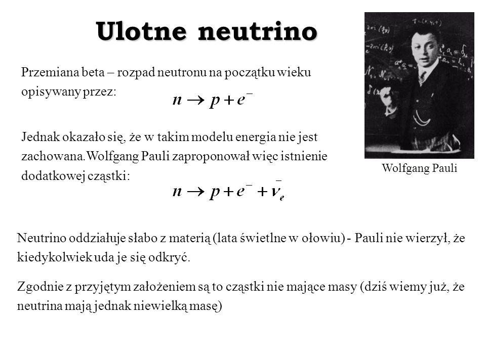 Ulotne neutrino Przemiana beta – rozpad neutronu na początku wieku opisywany przez: Jednak okazało się, że w takim modelu energia nie jest zachowana.W