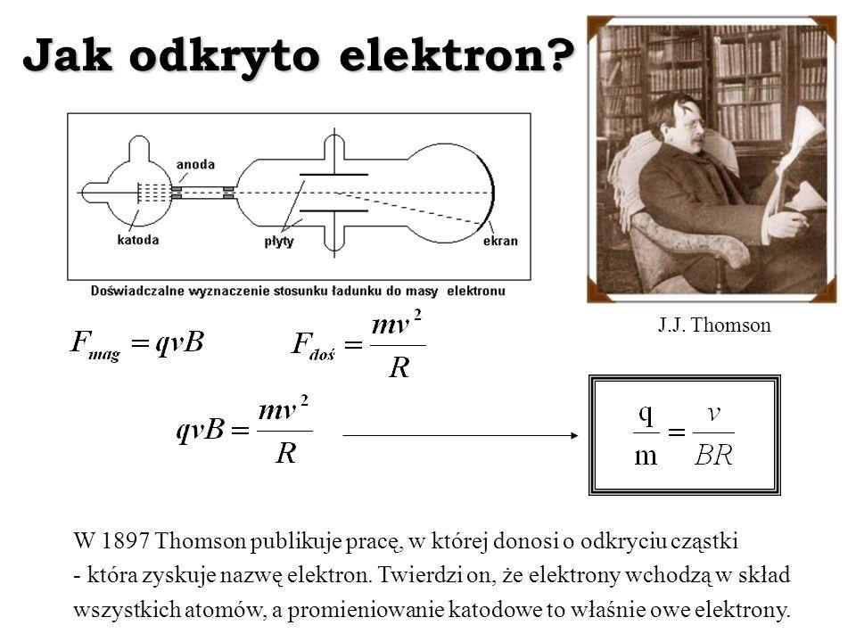 Jak odkryto elektron? W 1897 Thomson publikuje pracę, w której donosi o odkryciu cząstki - która zyskuje nazwę elektron. Twierdzi on, że elektrony wch