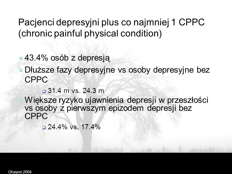 Kellner and Sheffield 1973 CZĘSTOŚĆ OBJAWÓW SOMATYCZNYCH U OSÓB Z DEPRESJĄ SymptomPACJENCI (%)ZDROWI (%) Zmęczenie, brak energii8540 Ból głowy 6448 Za