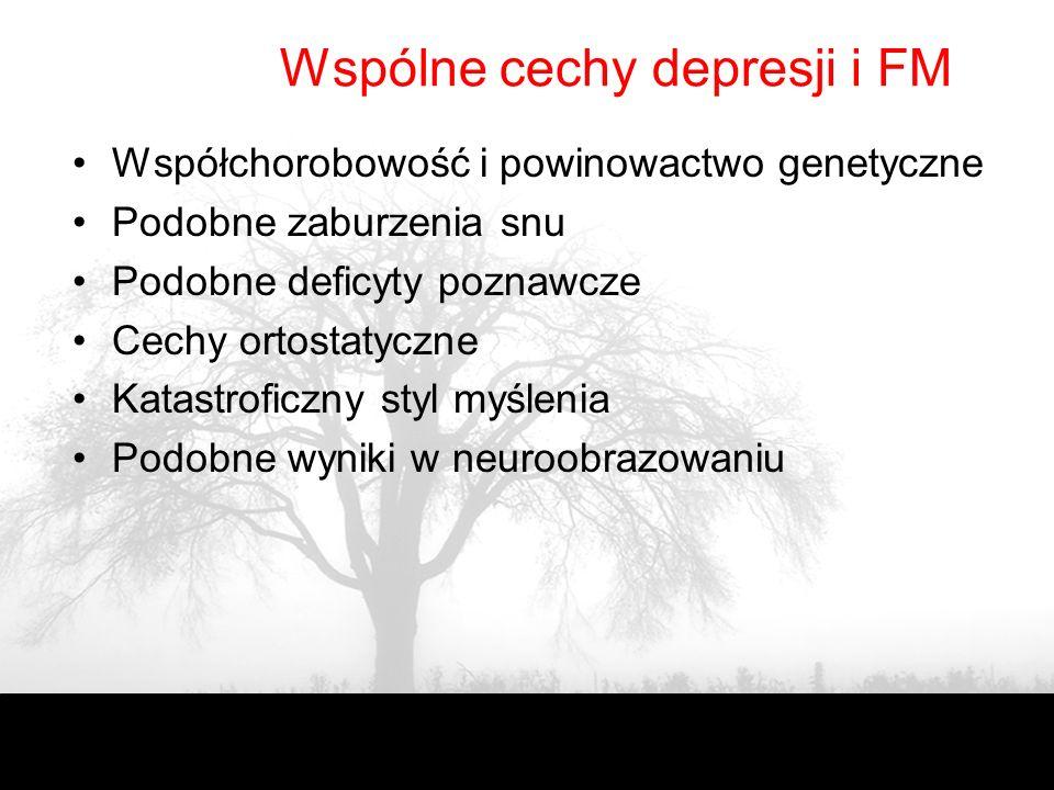 FM a depresja U 30-50% depresja jako pierwotna współchorobowość Zaburzenia depresyjne w wywiadzie (OR = 2.0). Fibromyalgia w rodzinach z wywiadem depr