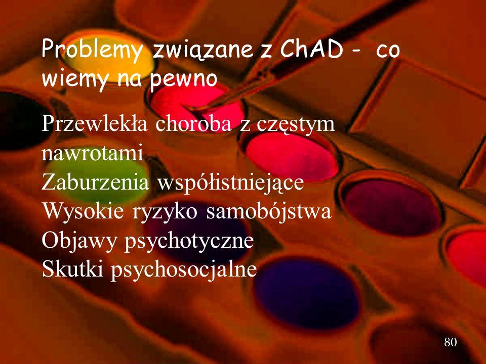 79 Kryteria epizodu mieszanego wg DSM-IV A. U jednej osoby występują zarówno objawy (pełnego) epizodu maniakalnego i depresyjnego, jednocześnie prawie