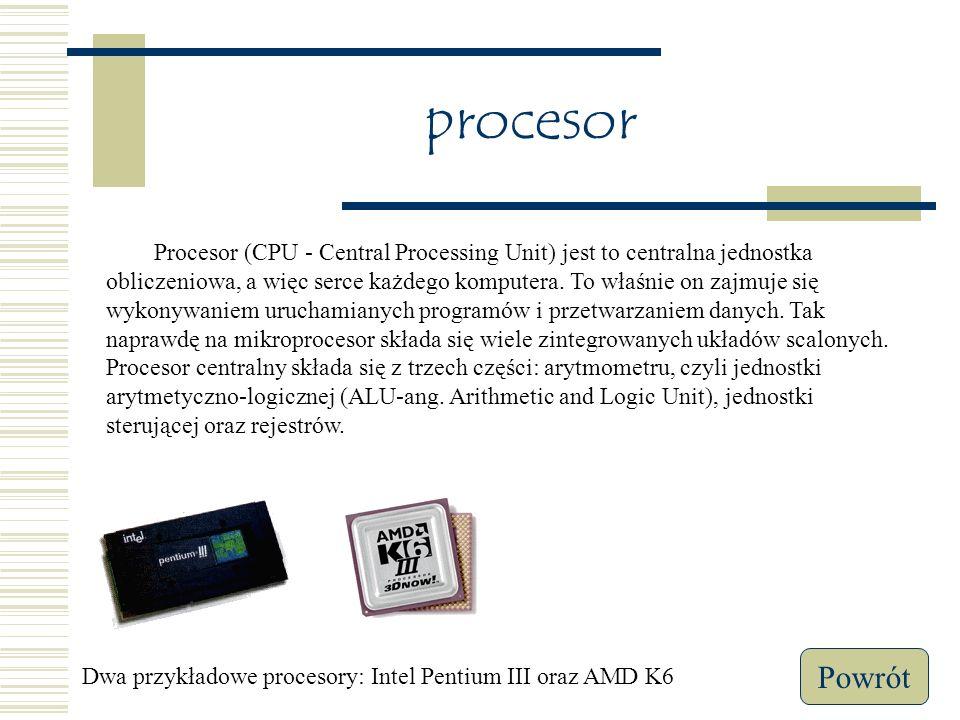 Budowa komputera Procesor Pamięć wewnętrzna Dysk twardy Płyta główna Menu