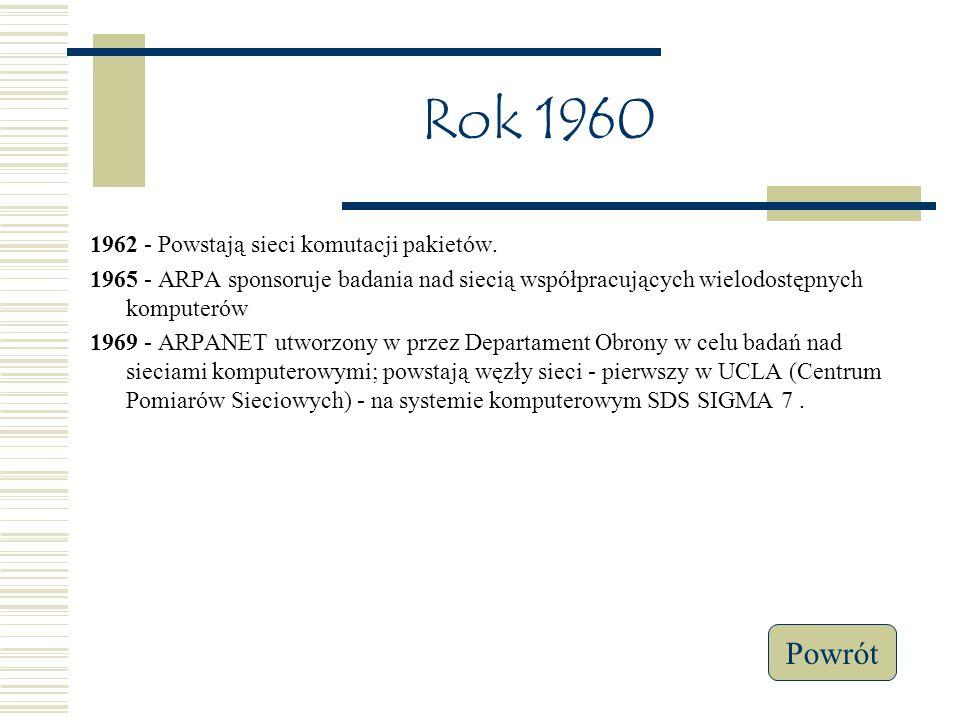 Rok 1960 1962 - Powstają sieci komutacji pakietów.