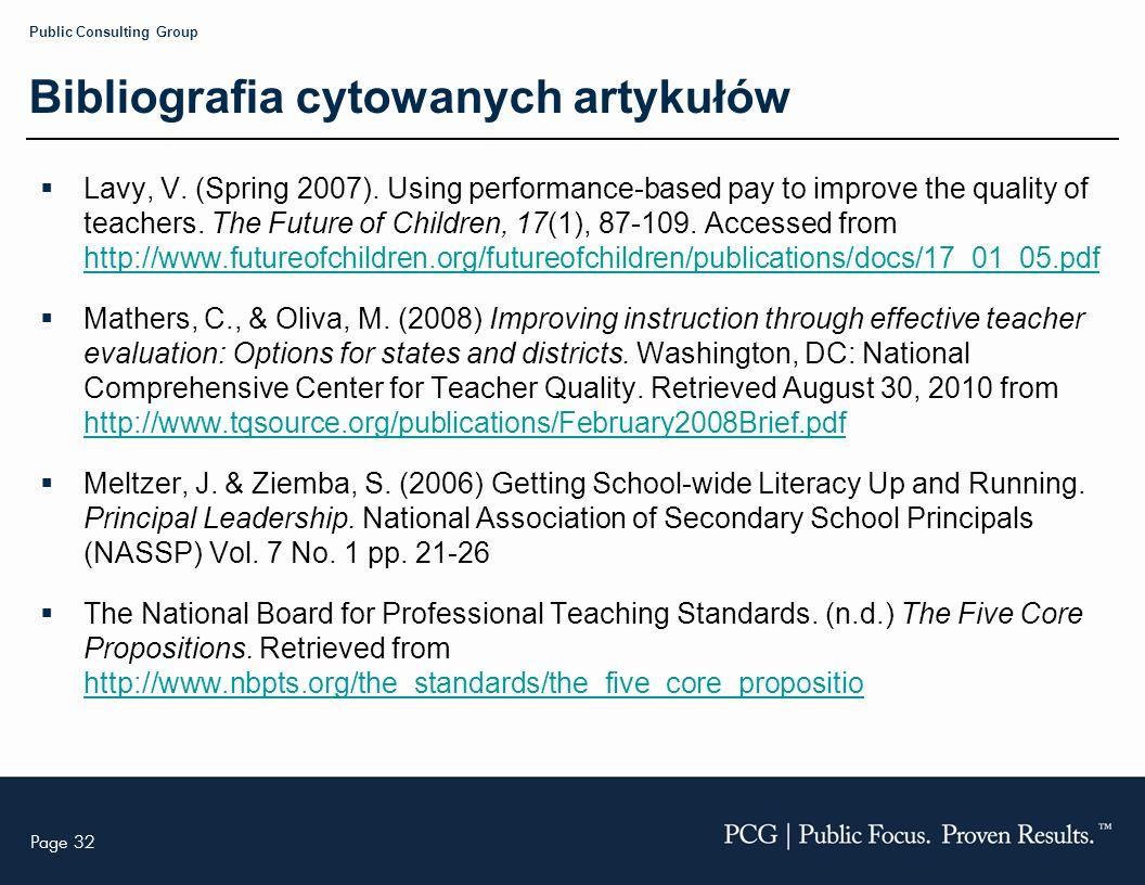 Page 32 Public Consulting Group Bibliografia cytowanych artykułów Lavy, V.