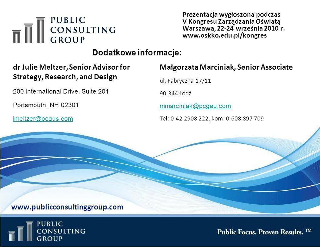 Page 33 Public Consulting Group dr Julie Meltzer, Senior Advisor for Strategy, Research, and Design 200 International Drive, Suite 201 Portsmouth, NH 02301 jmeltzer@pcgus.com Małgorzata Marciniak, Senior Associate ul.