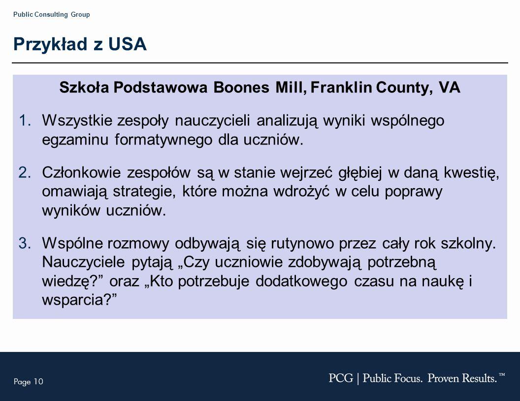Page 10 Public Consulting Group Przykład z USA Szkoła Podstawowa Boones Mill, Franklin County, VA 1.Wszystkie zespoły nauczycieli analizują wyniki wspólnego egzaminu formatywnego dla uczniów.