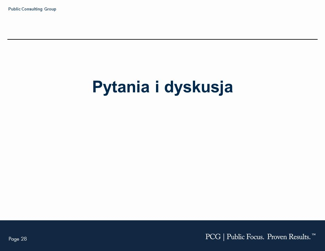 Page 28 Public Consulting Group Pytania i dyskusja