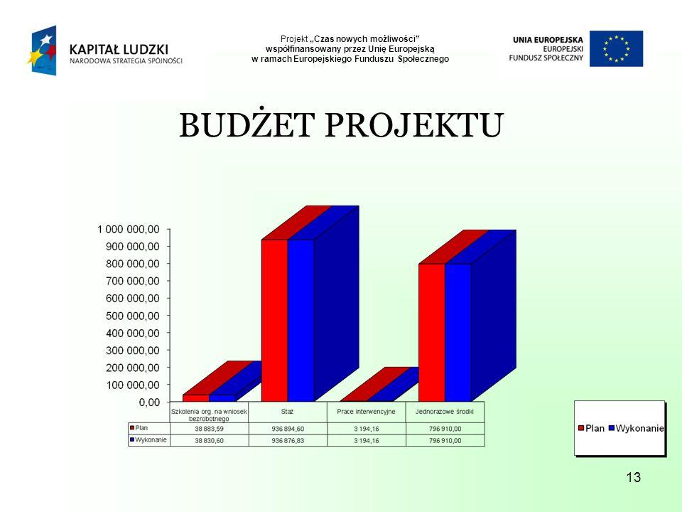 13 Projekt Czas nowych możliwości współfinansowany przez Unię Europejską w ramach Europejskiego Funduszu Społecznego BUDŻET PROJEKTU
