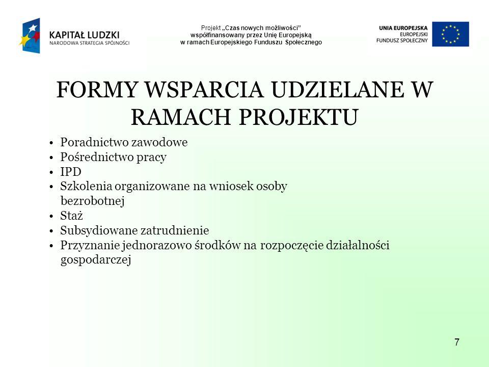 7 FORMY WSPARCIA UDZIELANE W RAMACH PROJEKTU Poradnictwo zawodowe Pośrednictwo pracy IPD Szkolenia organizowane na wniosek osoby bezrobotnej Staż Subsydiowane zatrudnienie Przyznanie jednorazowo środków na rozpoczęcie działalności gospodarczej Projekt Czas nowych możliwości współfinansowany przez Unię Europejską w ramach Europejskiego Funduszu Społecznego