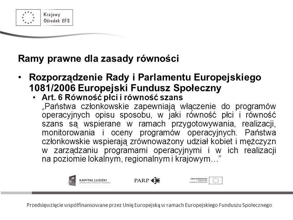 Przedsięwzięcie współfinansowane przez Unię Europejską w ramach Europejskiego Funduszu Społecznego Ramy prawne dla zasady równości Rozporządzenie Rady