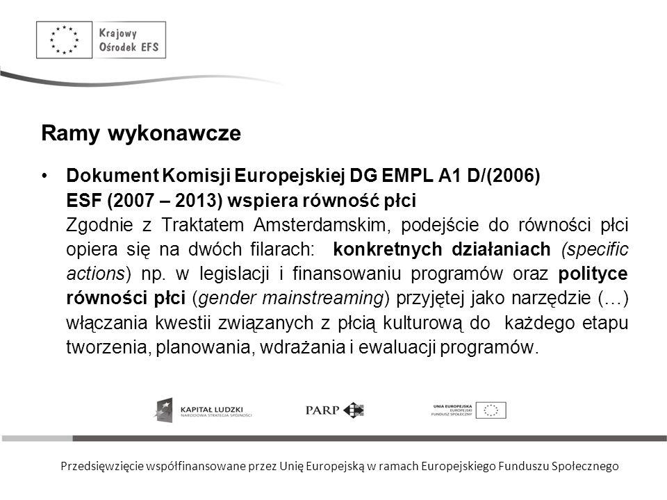 Przedsięwzięcie współfinansowane przez Unię Europejską w ramach Europejskiego Funduszu Społecznego Ramy wykonawcze Dokument Komisji Europejskiej DG EM