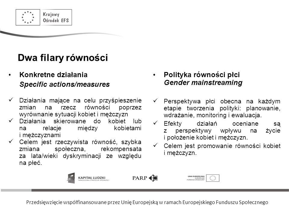 Przedsięwzięcie współfinansowane przez Unię Europejską w ramach Europejskiego Funduszu Społecznego Dwa filary równości Konkretne działania Specific ac