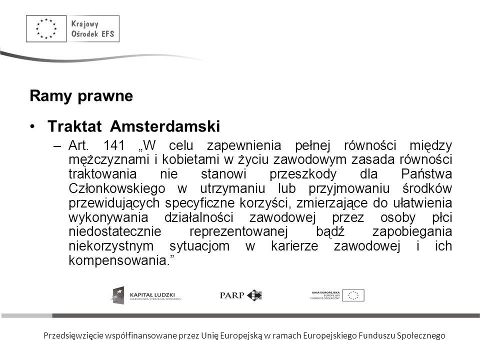 Przedsięwzięcie współfinansowane przez Unię Europejską w ramach Europejskiego Funduszu Społecznego Ramy prawne Traktat Amsterdamski –Art. 141 W celu z