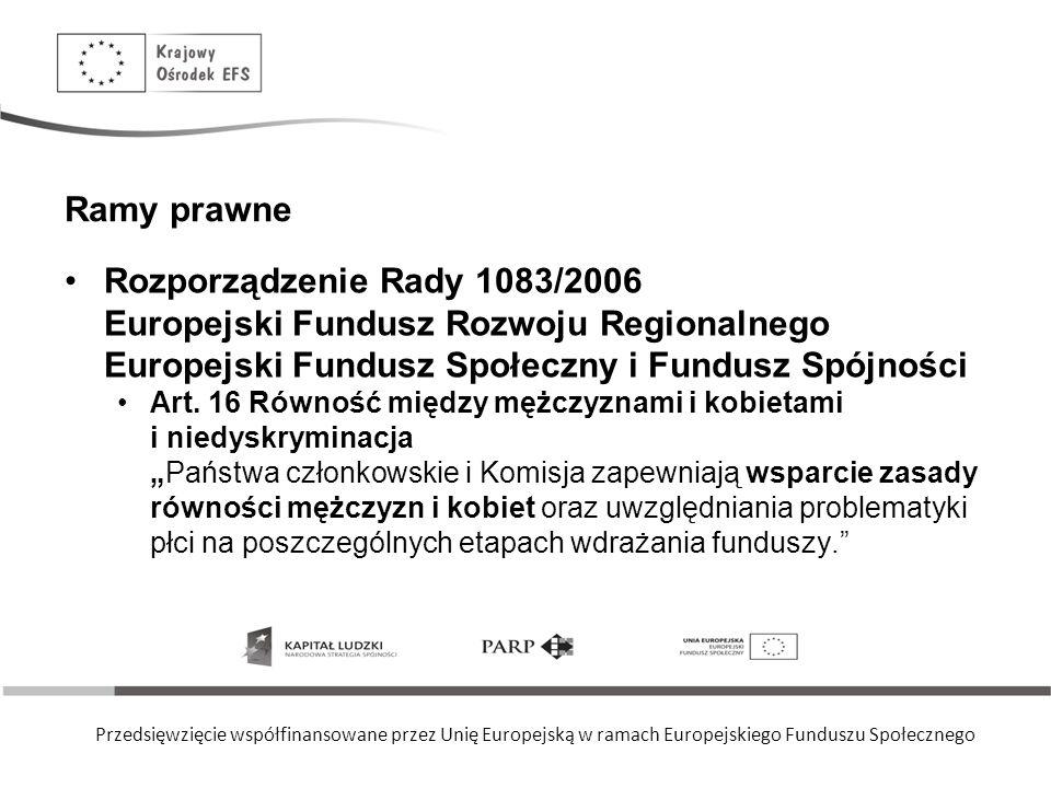 Przedsięwzięcie współfinansowane przez Unię Europejską w ramach Europejskiego Funduszu Społecznego Ramy prawne dla zasady równości Rozporządzenie Rady i Parlamentu Europejskiego 1081/2006 Europejski Fundusz Społeczny -- Art.