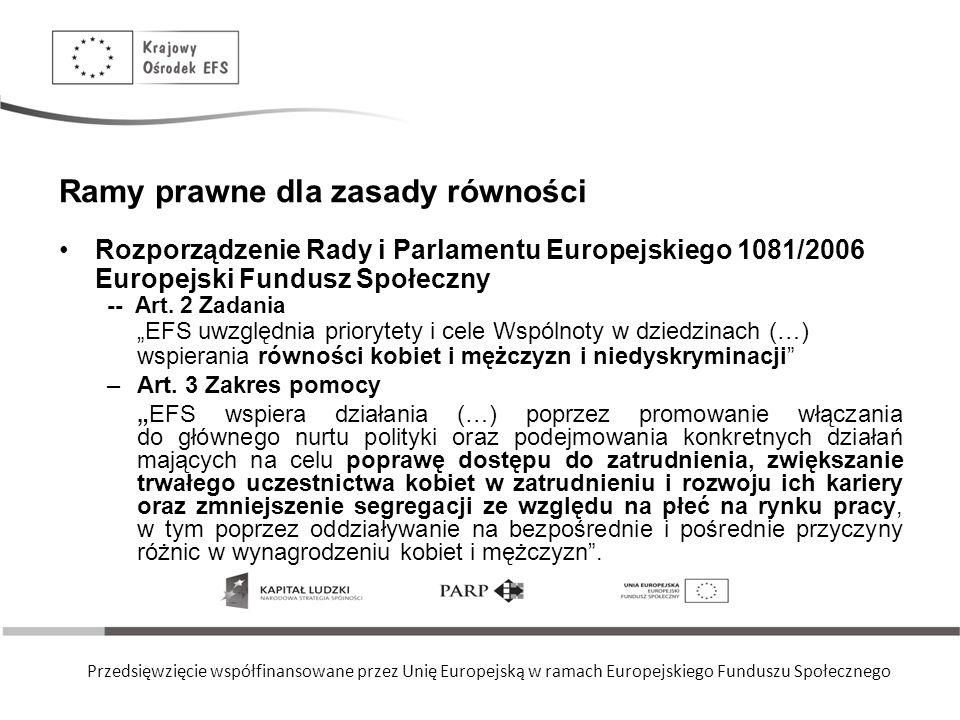 Przedsięwzięcie współfinansowane przez Unię Europejską w ramach Europejskiego Funduszu Społecznego Ramy prawne dla zasady równości Rozporządzenie Rady i Parlamentu Europejskiego 1081/2006 Europejski Fundusz Społeczny Art.