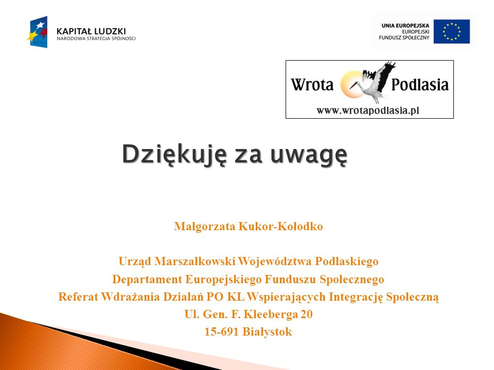 Małgorzata Kukor-Kołodko Urząd Marszałkowski Województwa Podlaskiego Departament Europejskiego Funduszu Społecznego Referat Wdrażania Działań PO KL Ws
