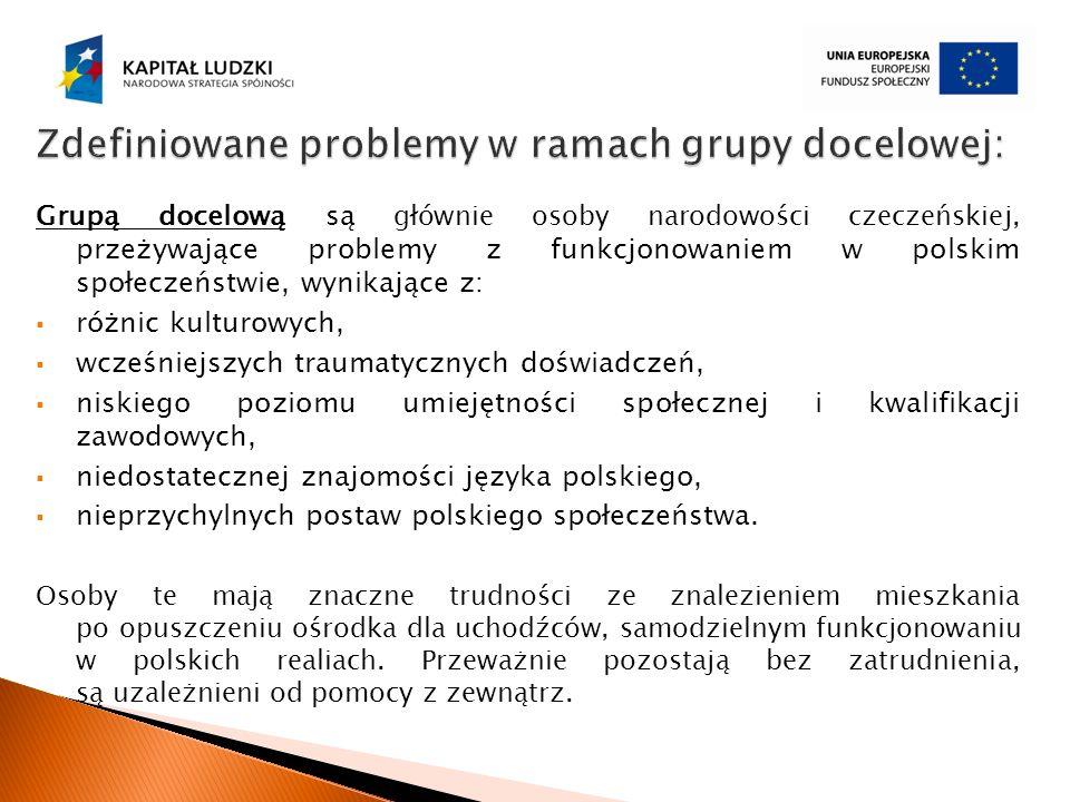 Grupą docelową są głównie osoby narodowości czeczeńskiej, przeżywające problemy z funkcjonowaniem w polskim społeczeństwie, wynikające z: różnic kultu