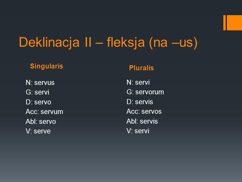Deklinacja II – fleksja (na –us) Singularis N: servus G: servi D: servo Acc: servum Abl: servo V: serve Pluralis N: servi G: servorum D: servis Acc: s