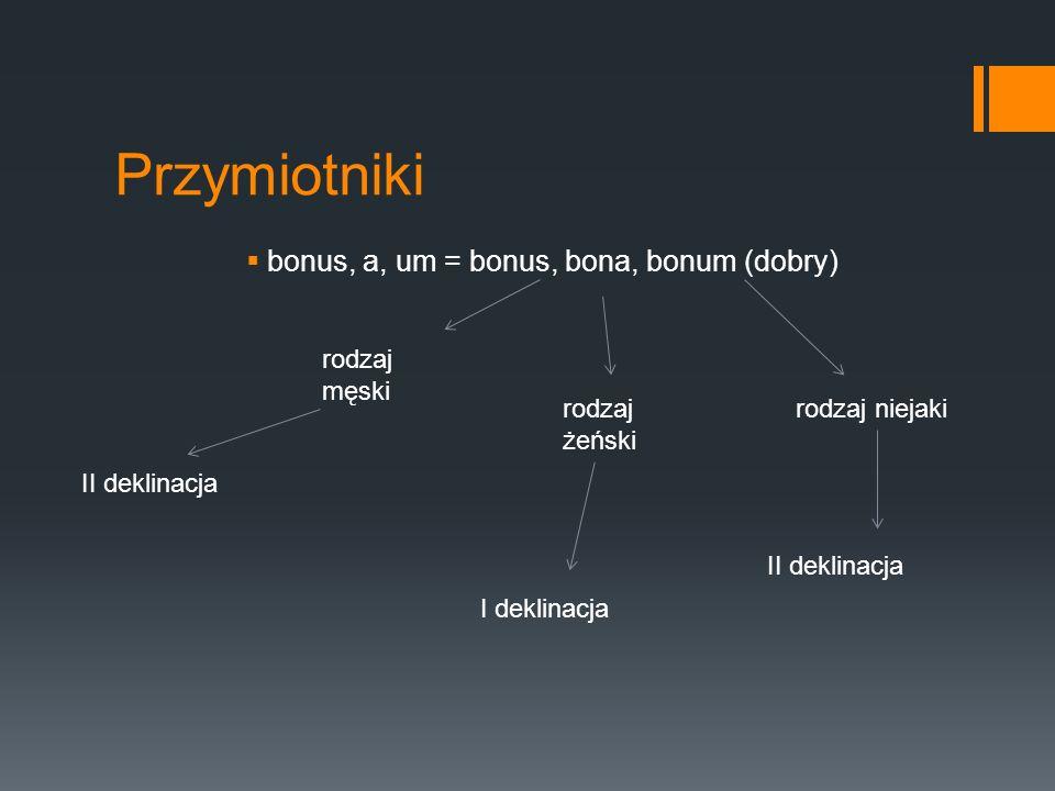Przymiotniki bonus, a, um = bonus, bona, bonum (dobry) rodzaj męski rodzaj żeński rodzaj niejaki II deklinacja I deklinacja II deklinacja