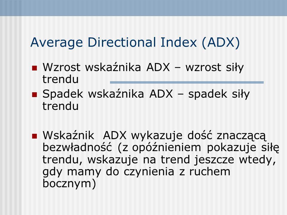 Average Directional Index (ADX) Wzrost wskaźnika ADX – wzrost siły trendu Spadek wskaźnika ADX – spadek siły trendu Wskaźnik ADX wykazuje dość znacząc