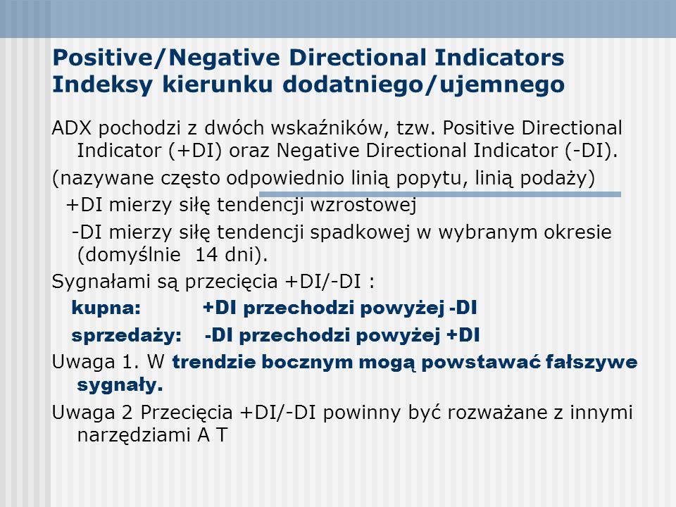 Positive/Negative Directional Indicators Indeksy kierunku dodatniego/ujemnego ADX pochodzi z dwóch wskaźników, tzw. Positive Directional Indicator (+D