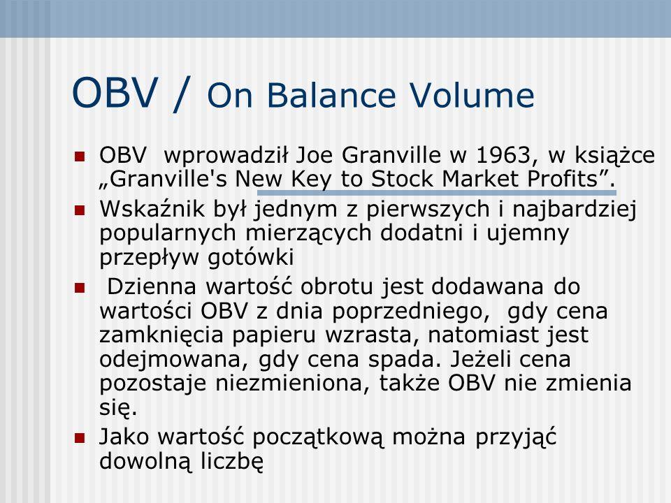 OBV / On Balance Volume OBV wprowadził Joe Granville w 1963, w książce Granville's New Key to Stock Market Profits. Wskaźnik był jednym z pierwszych i