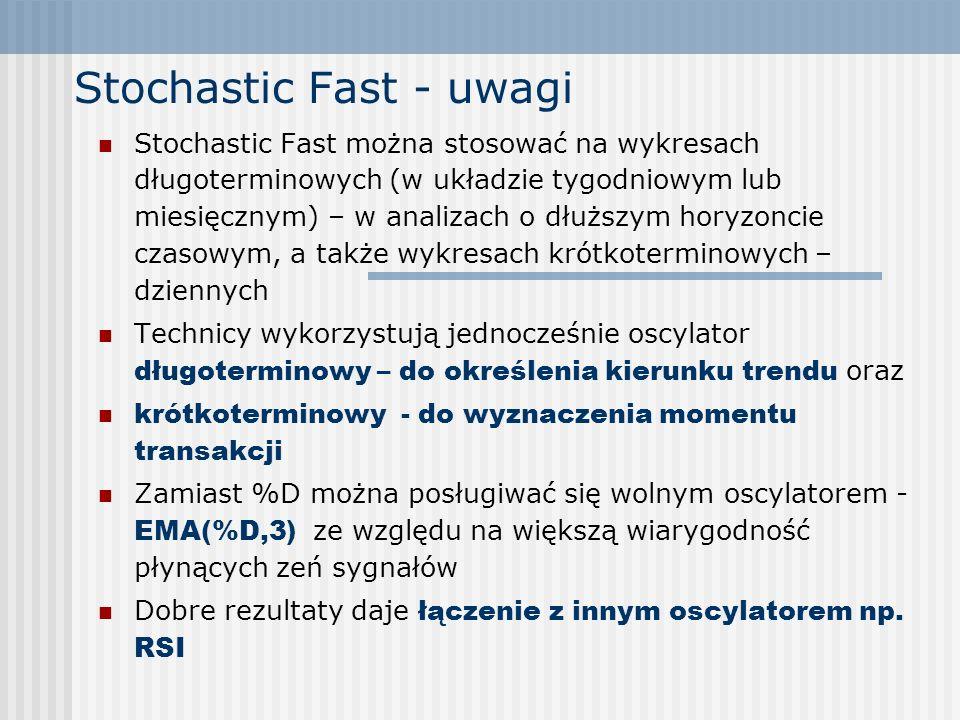 Stochastic Fast - uwagi Stochastic Fast można stosować na wykresach długoterminowych (w układzie tygodniowym lub miesięcznym) – w analizach o dłuższym
