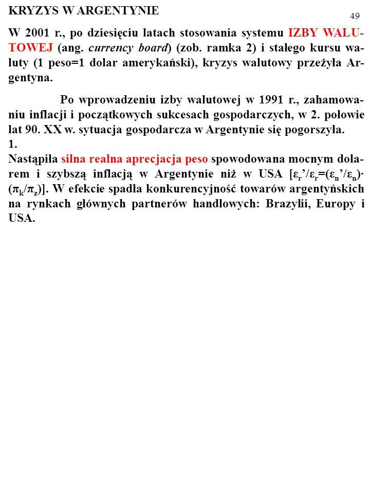48 KRYZYS W ARGENTYNIE W 2001 r., po dziesięciu latach stosowania systemu IZBY WALU- TOWEJ (ang.