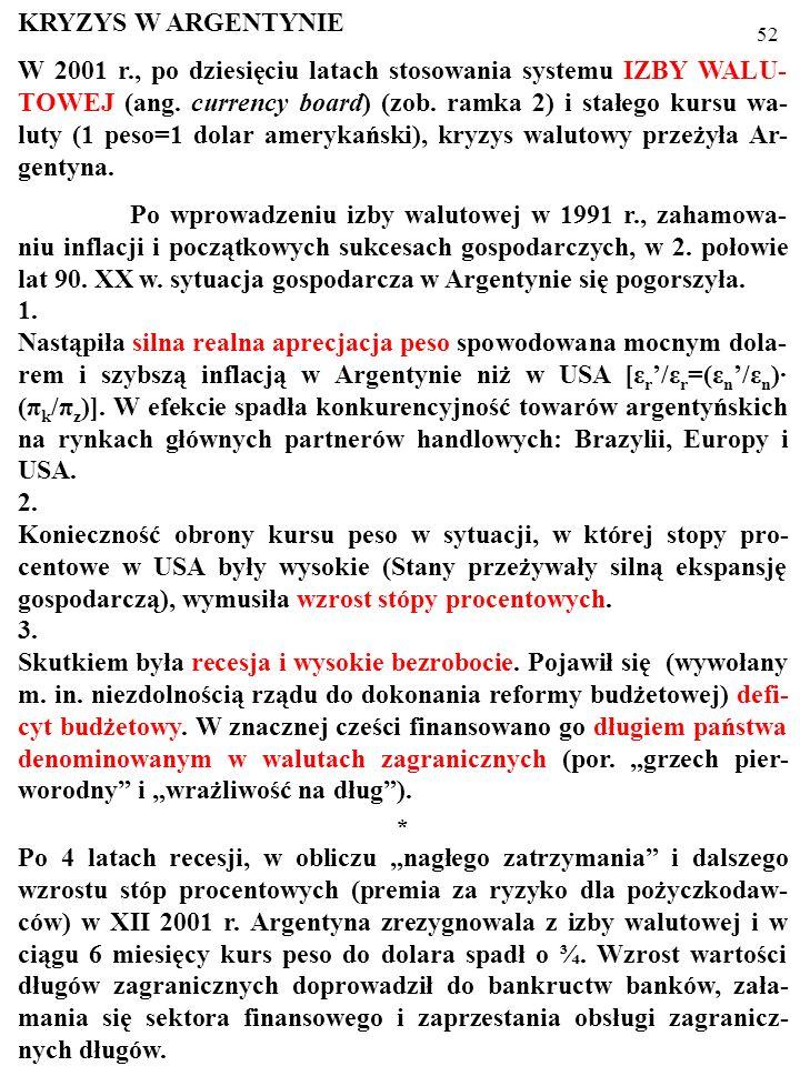 51 KRYZYS W ARGENTYNIE W 2001 r., po dziesięciu latach stosowania systemu IZBY WALU- TOWEJ (ang.