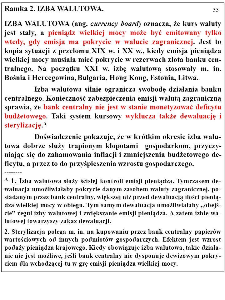 52 KRYZYS W ARGENTYNIE W 2001 r., po dziesięciu latach stosowania systemu IZBY WALU- TOWEJ (ang.