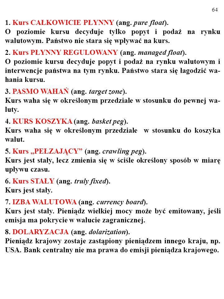63 1. Kurs CAŁKOWICIE PŁYNNY (ang. pure float).